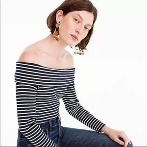 NEW JCrew Striped Off-the-Shoulder Top